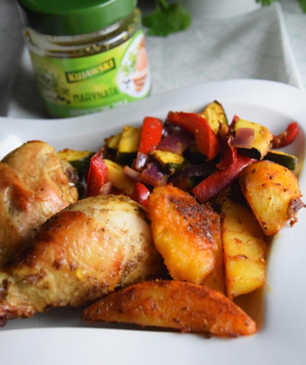 Pałki z kurczaka z warzywami w marynacie aromatyczne zioła - Potrawy z grilla
