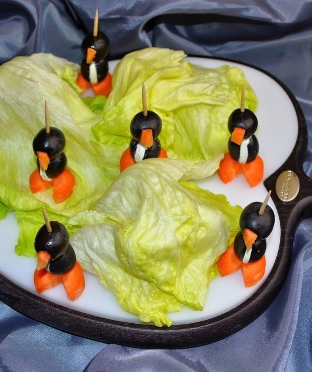 Koreczki pingwiny. Koreczki na impreze. - Na zimno