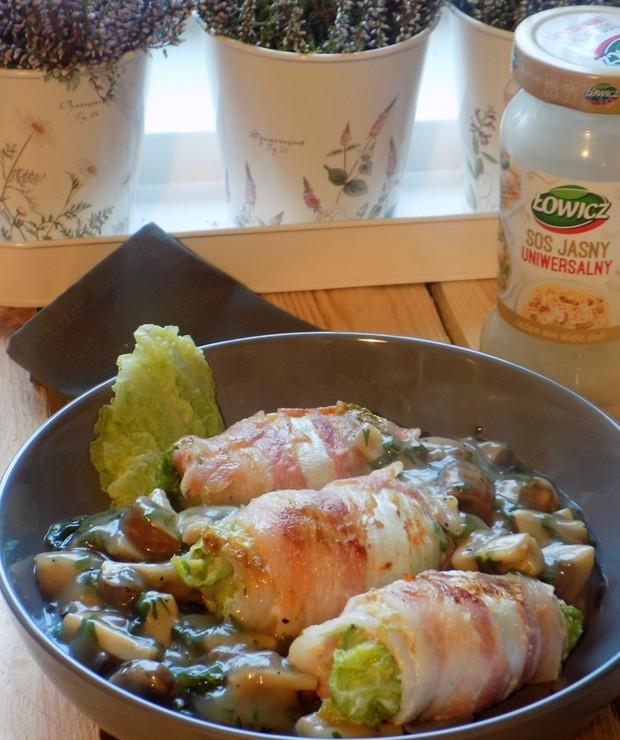 Gołąbki z Kapusty Pekińskiej z Miętowym Sosem Grzybowym - Dania z ryżu i kaszy