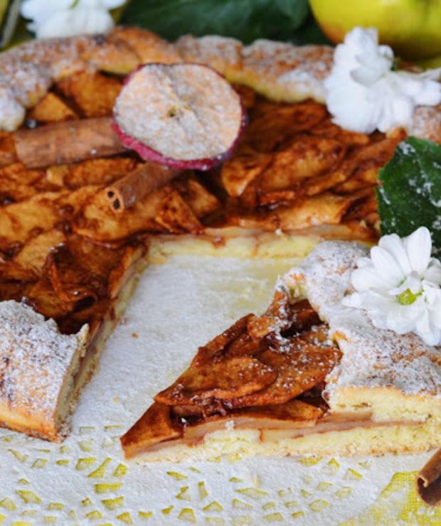 Rustykalna tarta z jabłkiem, imbirem i nutą cynamonu - Tarty
