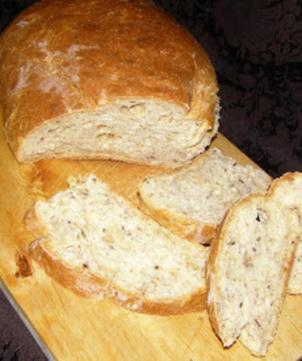 chleb żytnio-pszenny z siemieniem lnianym na drożdżach suchych z piekarnika... - Chleby