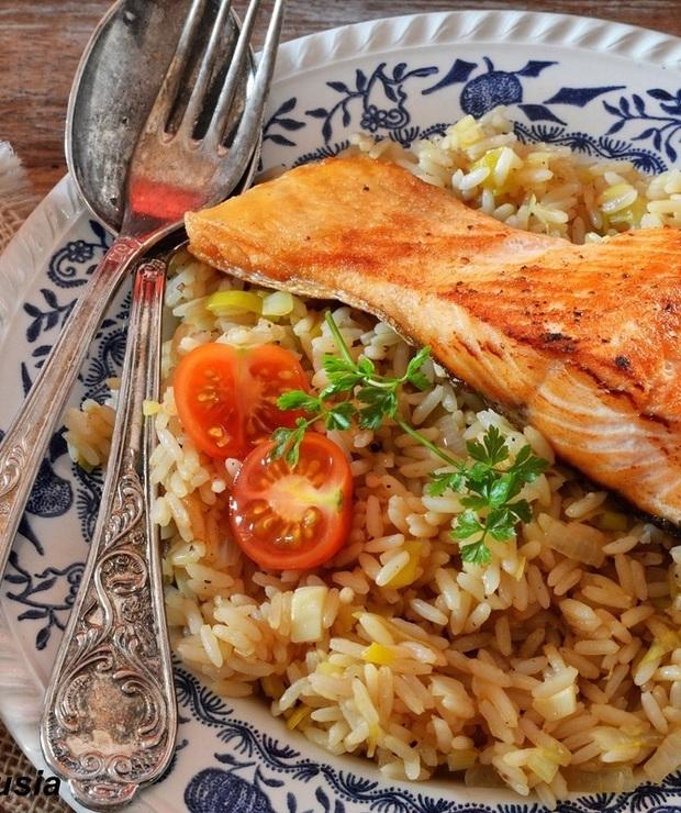 Szybki obiad - ryż z łososiem - Łosoś