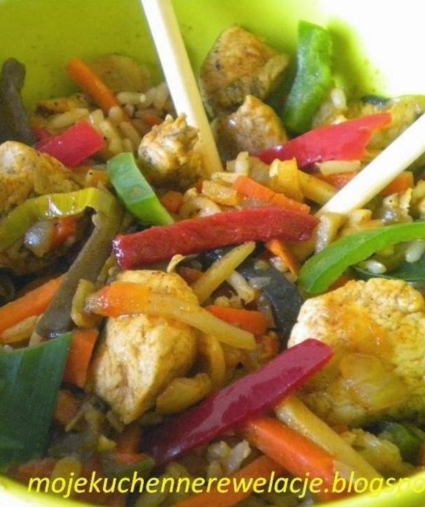 Kurczak z warzywami na ostro  - Drób