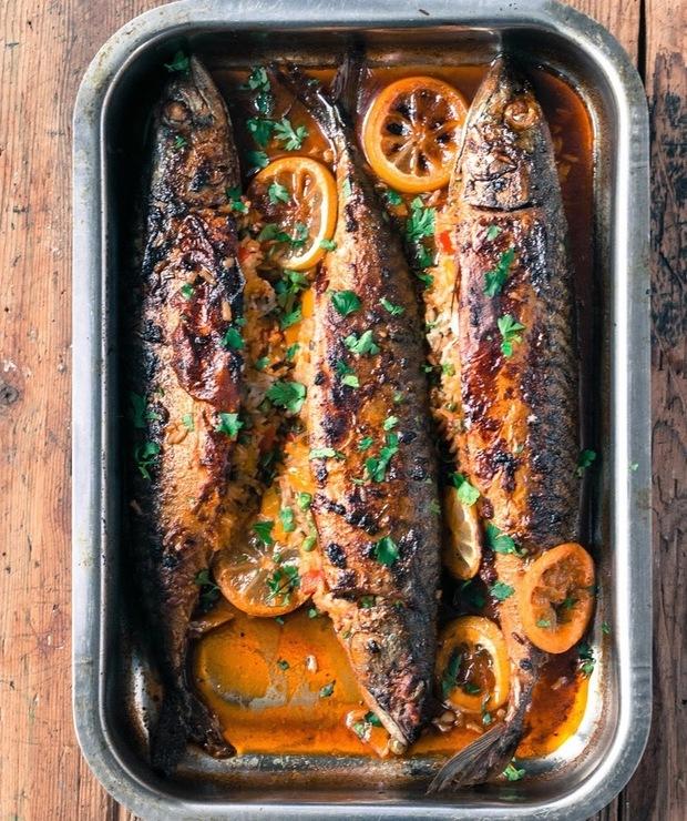 Pieczona makrela z ryżowym farszem - Makrela