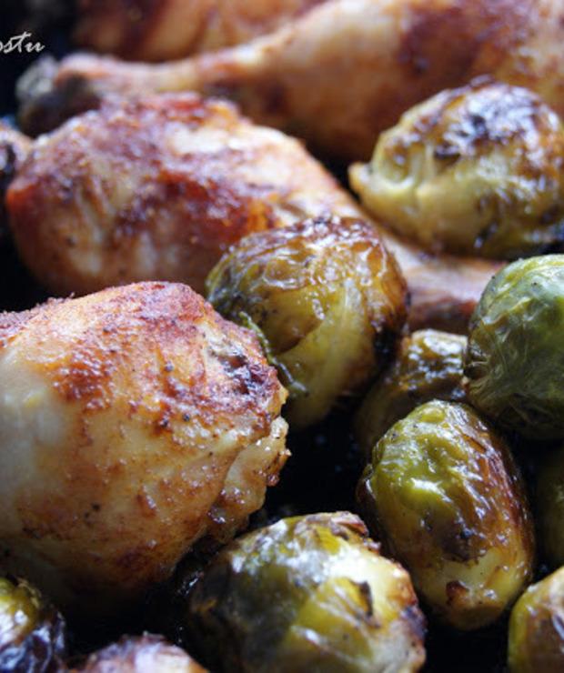 Udka kurczaka pieczone z brukselką - Drób