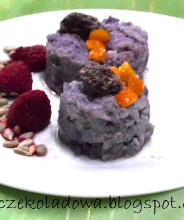 Lekkie śniadanie : Borówkowo-ryżowe krążki  słodzone rodzynkami (Vege & White sugar free) - Bezglutenowe
