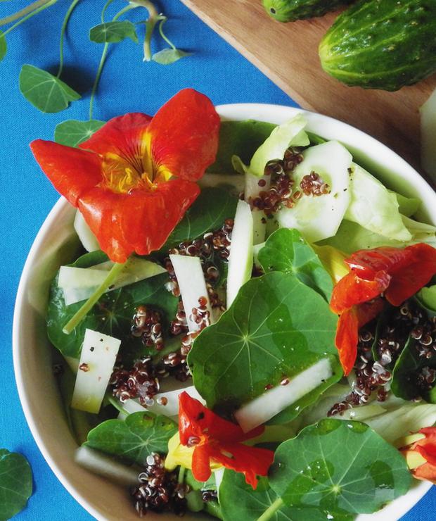 Sałatka z czerwoną quinoą i nasturcją - Bezglutenowe