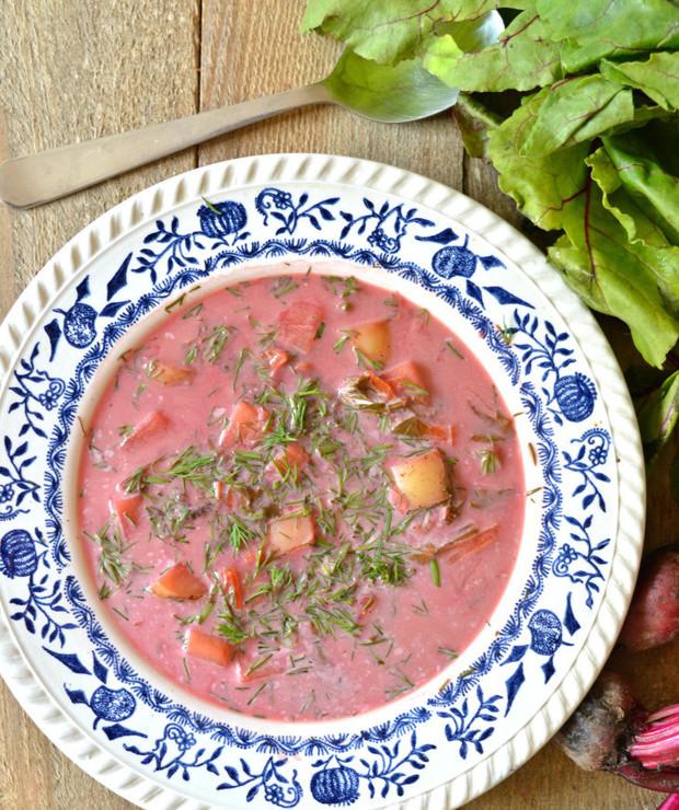 Zupa botwinkowa z mlekiem kokosowym - Z warzywami