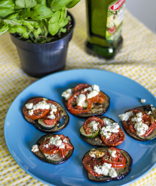 Pieczone talarki warzywne: cukinia, bakłażan i pomidory - Na gorąco