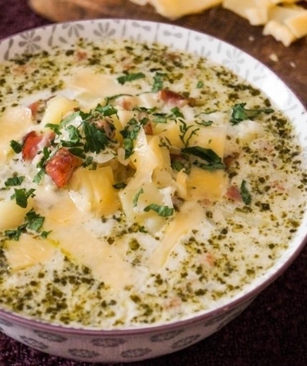 Zupa ziemniaczana z pesto - Z mięsem