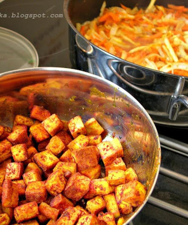 Wegetariańskie curry z dodatkiem tofu - Warzywa