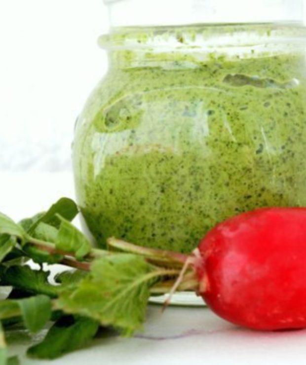 Pesto z liści rzodkiewki i słonecznika prażonego - Warzywne