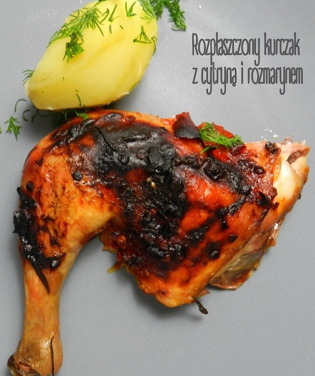 Rozpłaszczony kurczak z cytryną i rozmarynem - Drób