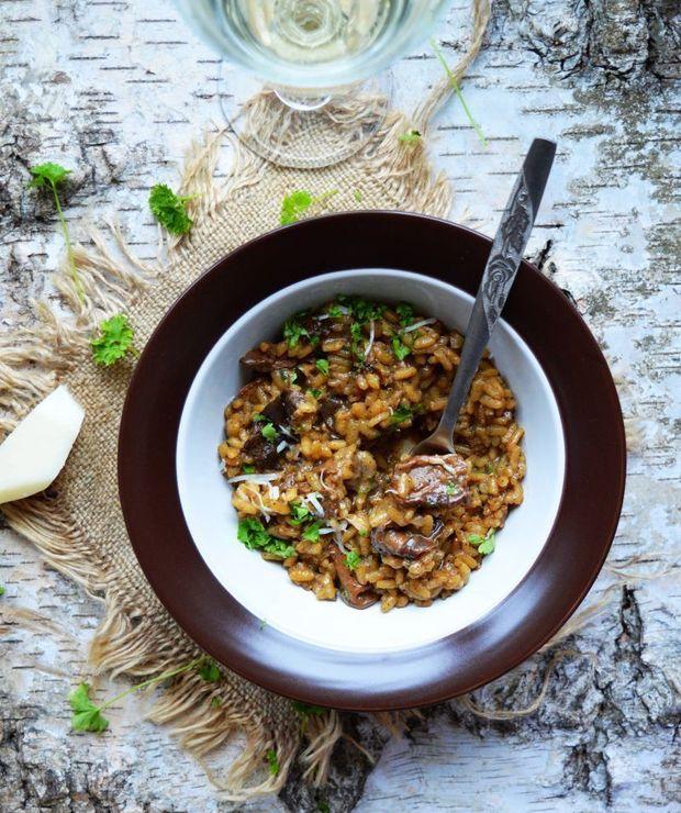 Risotto z suszonymi grzybami i kozim serem - Dania z ryżu i kaszy