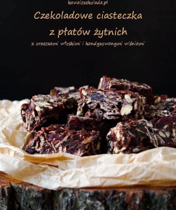 Czekoladowe batoniki z płatków żytnich (bez pieczenia) - Ciastka