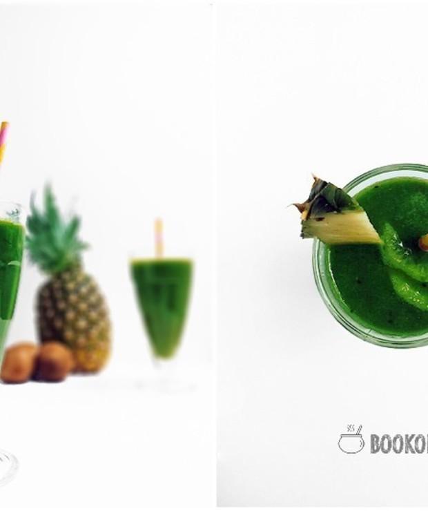 Wiosenny koktajl z kiwi, ananasa i jarmużu - Zimne