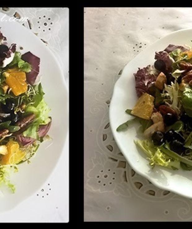 Sałatka z pomarańczą, borówką, orzechami i kurczakiem w sosie winegret miodowym / Salad with orange, blueberries, nuts and chicken in sauce honey vinaigrette - Mięsne