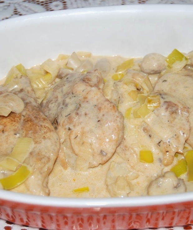 Kurczak w sosie porowym - Drób