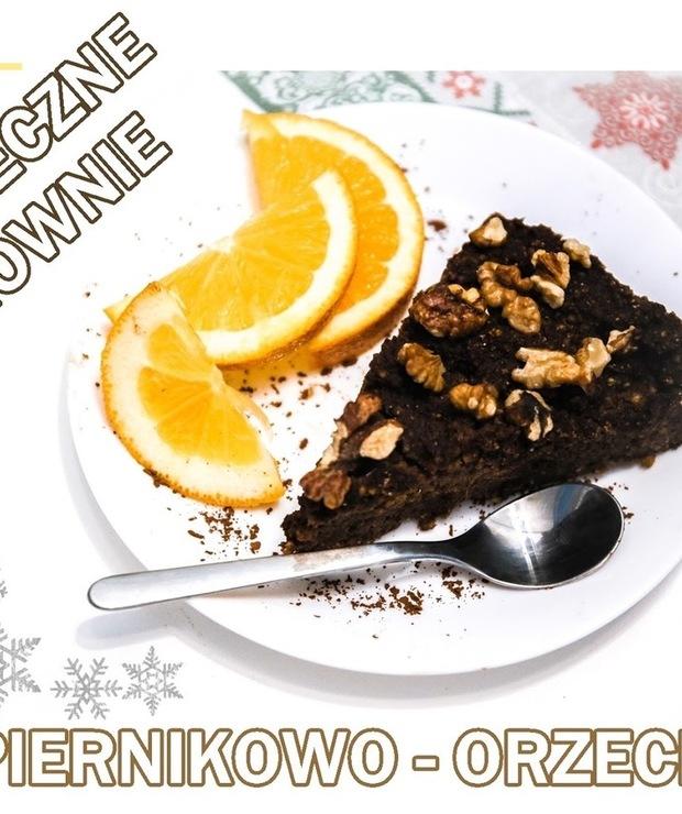 Świąteczne BROWNIE ( piernikowo - orzechowe ) - Bez pieczenia