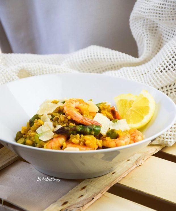 Cytrynowe risotto ze szparagami i krewetkami - Dania z ryżu i kaszy