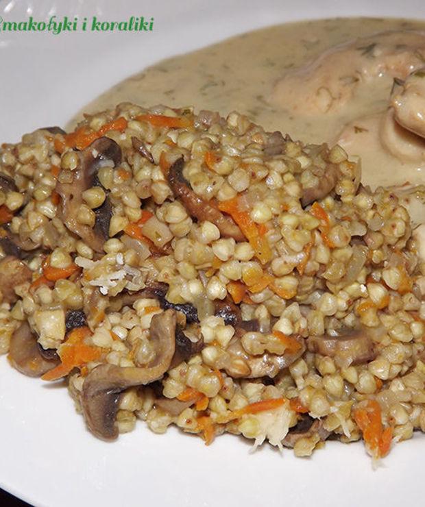 Kaszotto z marchewką i pieczarkami - Dania z ryżu i kaszy