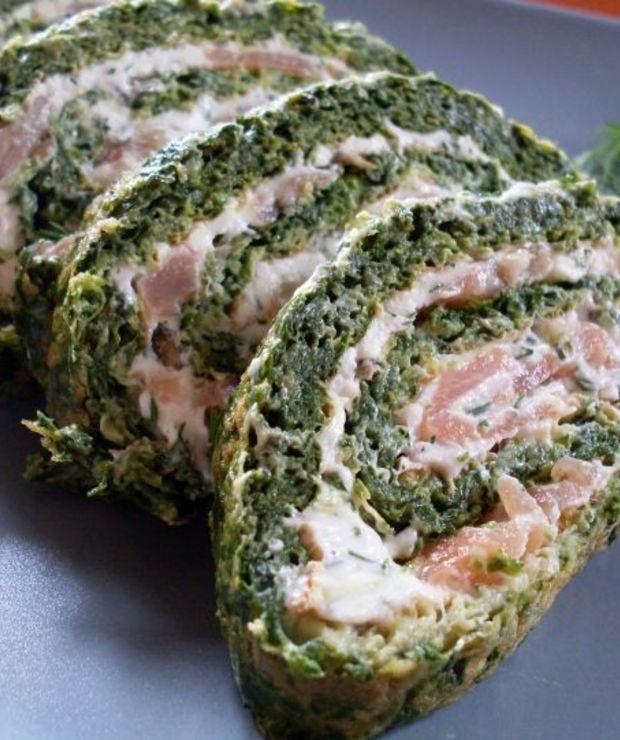 Rolada szpinakowa z łososiem - Na zimno