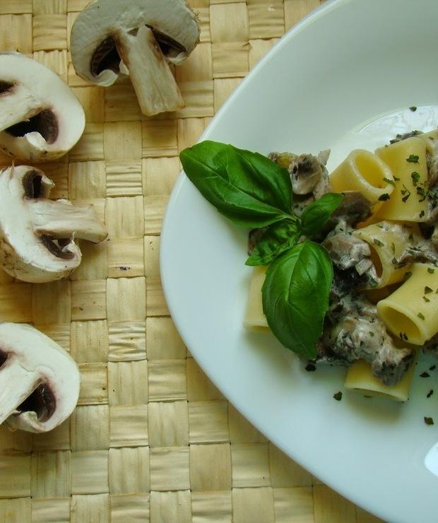 Makaron z sosem pieczarkowym - Dania z makaronu