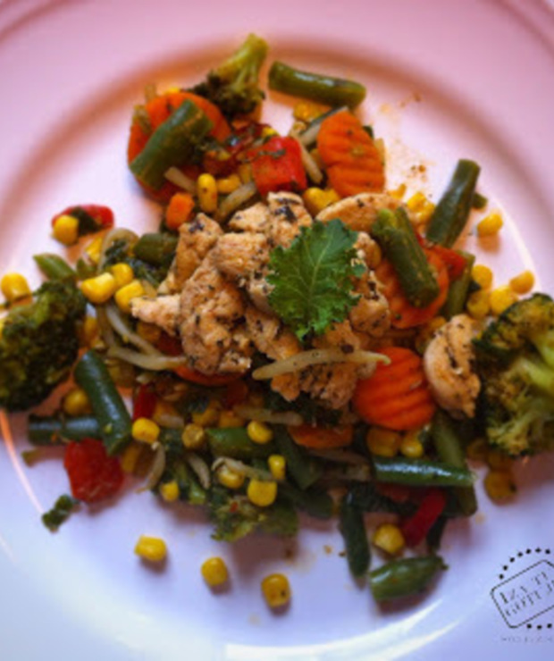 Warzywa na patelnię i pierś z kurczaka czyli mój Przepis na Mega Szybki Obiad. Co na obiad? To mój pomysł na obiad! - Drób