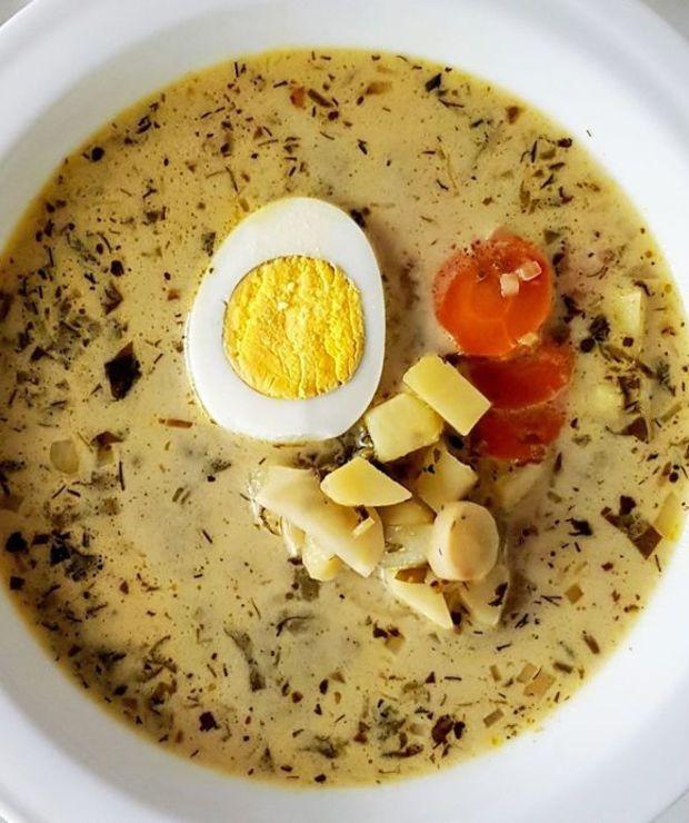 Zupa szczawiowa z jajkiem - Z warzywami