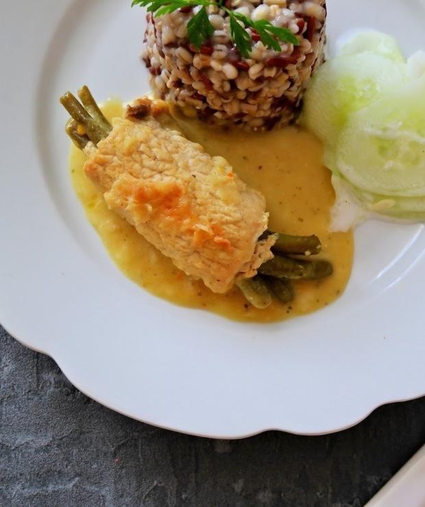 Schabowe roladki z fasolką szparagową - Wieprzowina