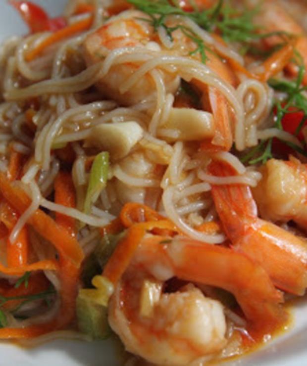 Smażony makaron ryżowy z krewetkami - Krewetki