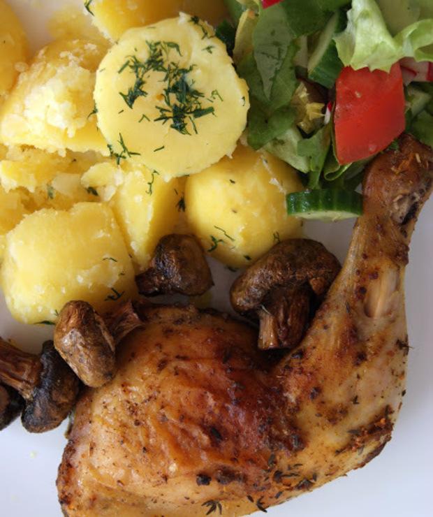 Udzce Kurczaka Pieczone Z Pieczarkami Targ Smaku