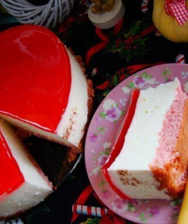 Różowy sernik na zimno  - Serniki