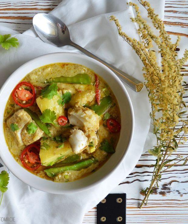 Zielone curry z dorszem, ziemniakami i groszkiem cukrowym - Dorsz