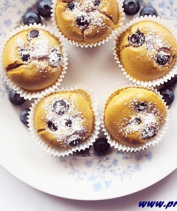 Bezglutenowe babeczki z borówkami i z cukrem kokosowym - Muffiny i babeczki