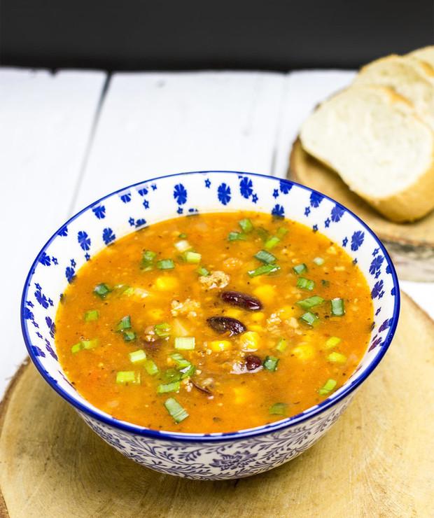 Zupa meksykańska z mięsem mielonym - Z mięsem