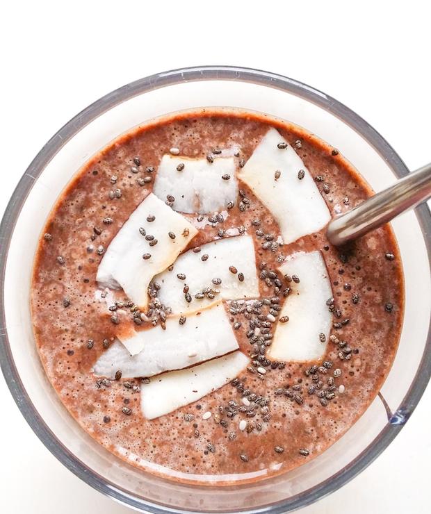 czekoladowo-orzechowy koktajl ze szpinakiem - Zimne