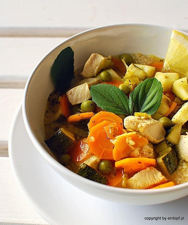 cytrynowa zupa z kurczakiem i warzywami - Z warzywami