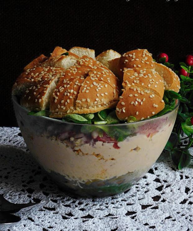 Sałatka hamburger - Mięsne