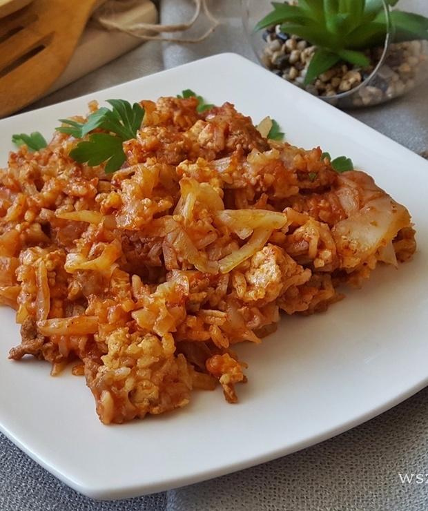 Zapiekanka gołąbkowa z ryżem - Dania z ryżu i kaszy
