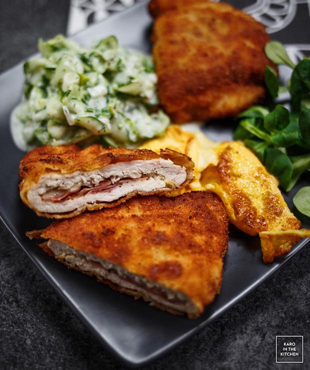 Cordon bleu – kotlety z kurczaka z szynką parmeńską, mozzarellą i bekonem - Drób