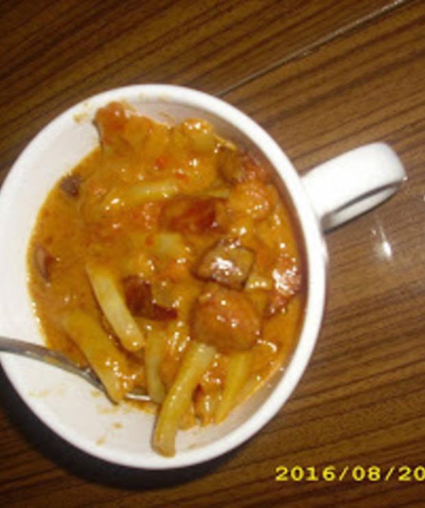 Fasolka szparagowa z kiełbasą - Warzywa