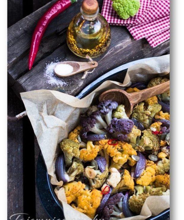 Pieczony kalafior z cebulą, chili i czosnkiem - Warzywa