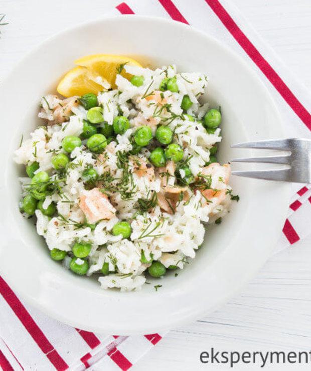 Risotto z łososiem i groszkiem - Dania z ryżu i kaszy