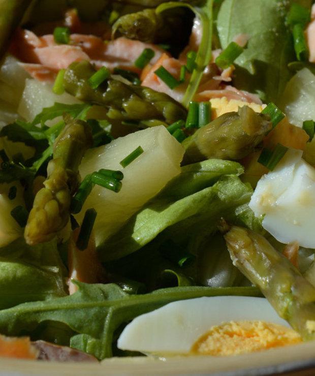 Szparagi z łososiem - Mięsne