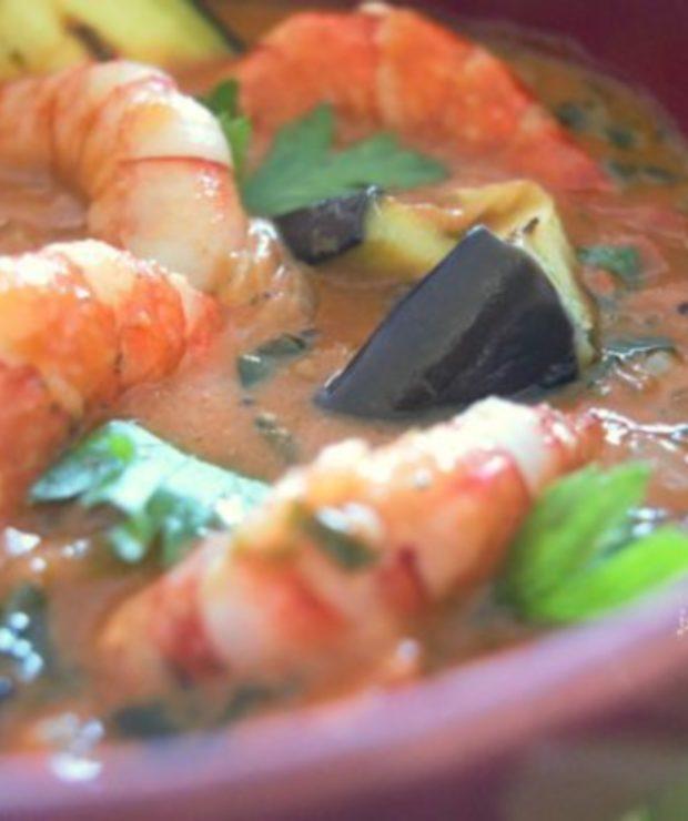 Krewetki w czerwonym curry z bakłażanem - Krewetki