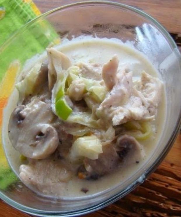 Kurczak z pieczarkami  w sosie porowym  - Warzywa