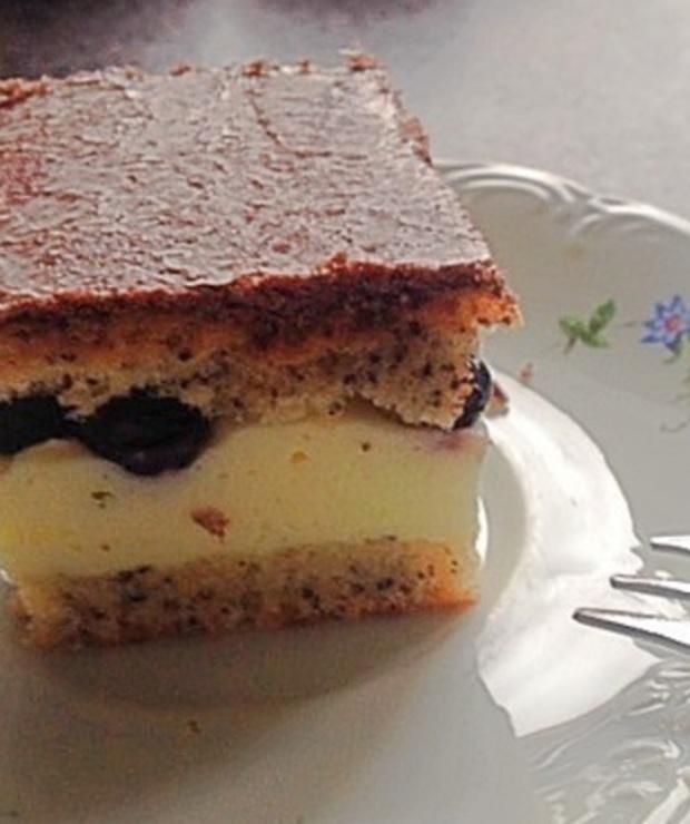 Migdałowo-makowy biszkopt z masą śmietanową - low carb - Desery i ciasta
