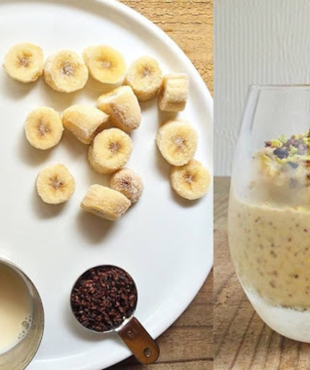banan mrożony + mleko sojowe + pistacje + ziarna kakaowca - Zimne