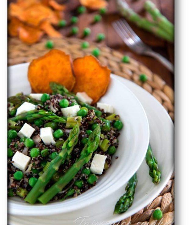 Salatka Czarna Quinoa Zielone Szparagi Zielony Groszek Feta